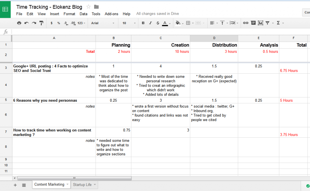 Spreadsheet - Time tracking