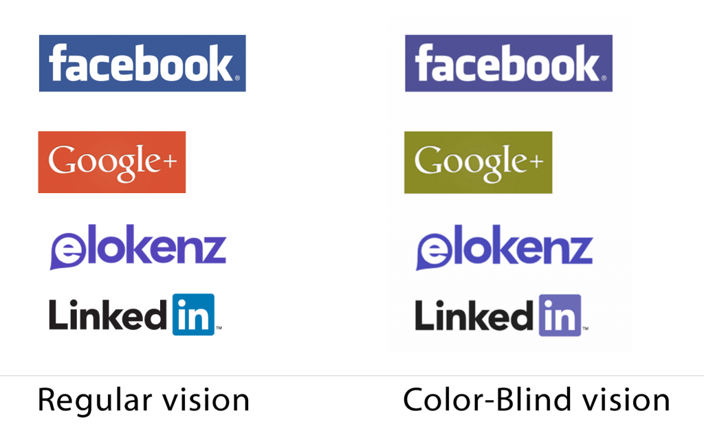Logo comparison for regular vs color-blind vision