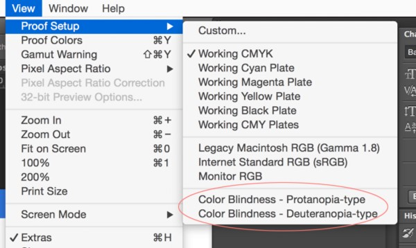 Photoshop menu - Color blind simuilation
