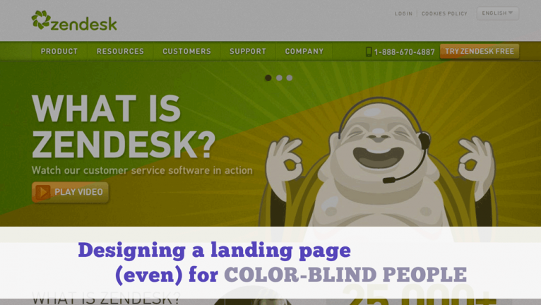 Designing a landing page even for color blind people