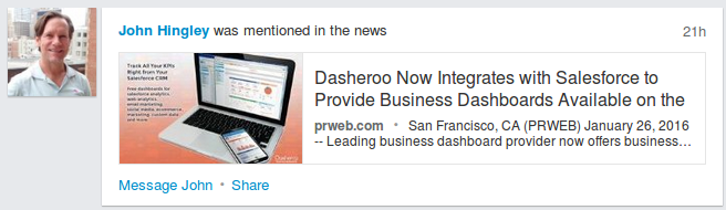 John Hingley , CEO Dasheroo, Linkedin News Mention