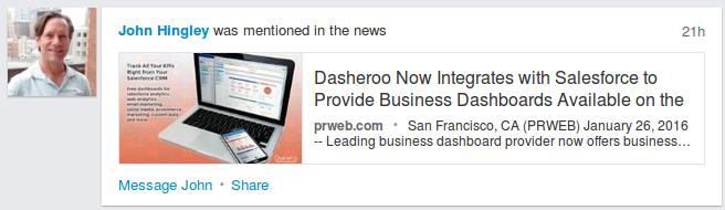 John Hingley , CEO Dasheroo, Linkedin News Mention