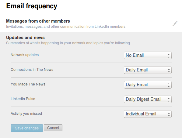 Linkedin Email Frequency for News and Updates