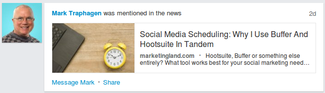Mark Traphagen Mentioned in the News LinkedIn