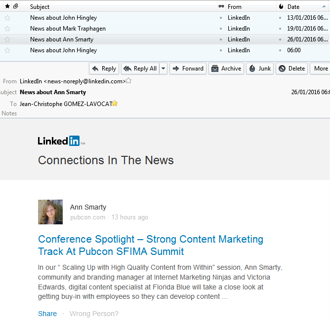 News about Ann Smarty in the news Linkedin