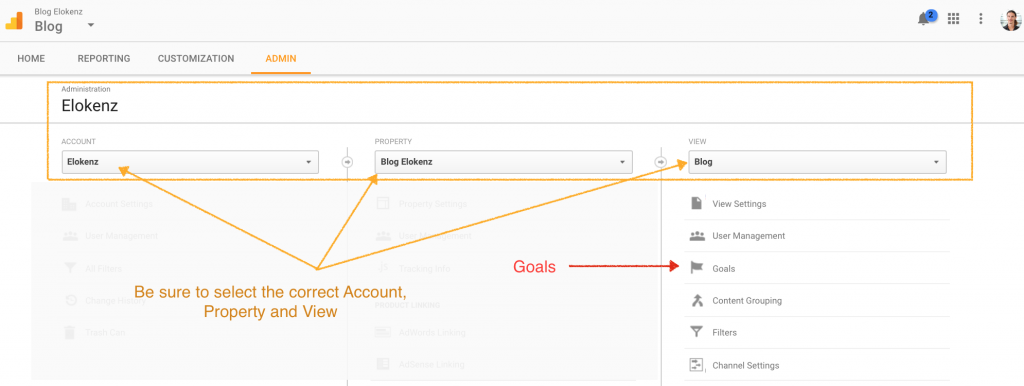 Google Analytics - Admin View Goals