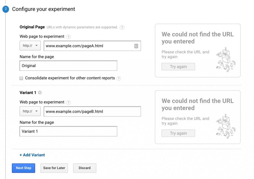Google Experiment Redirect configuration