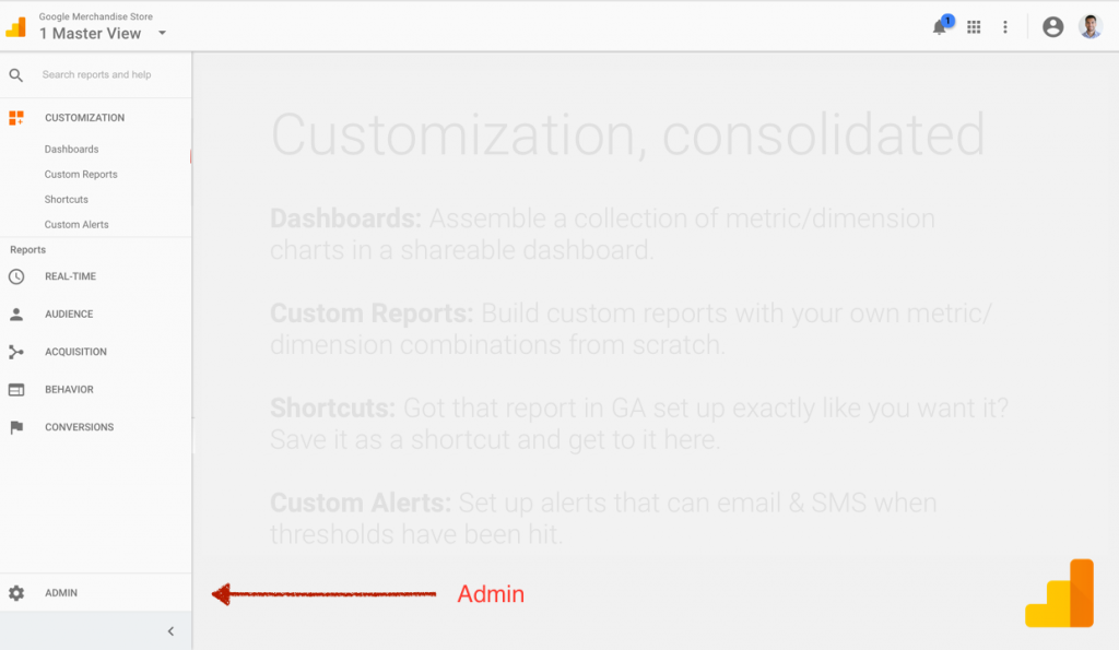 New Google Analytics - Admin Link