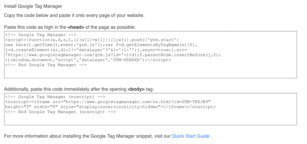 Google Tag Manager - Snippet Installation
