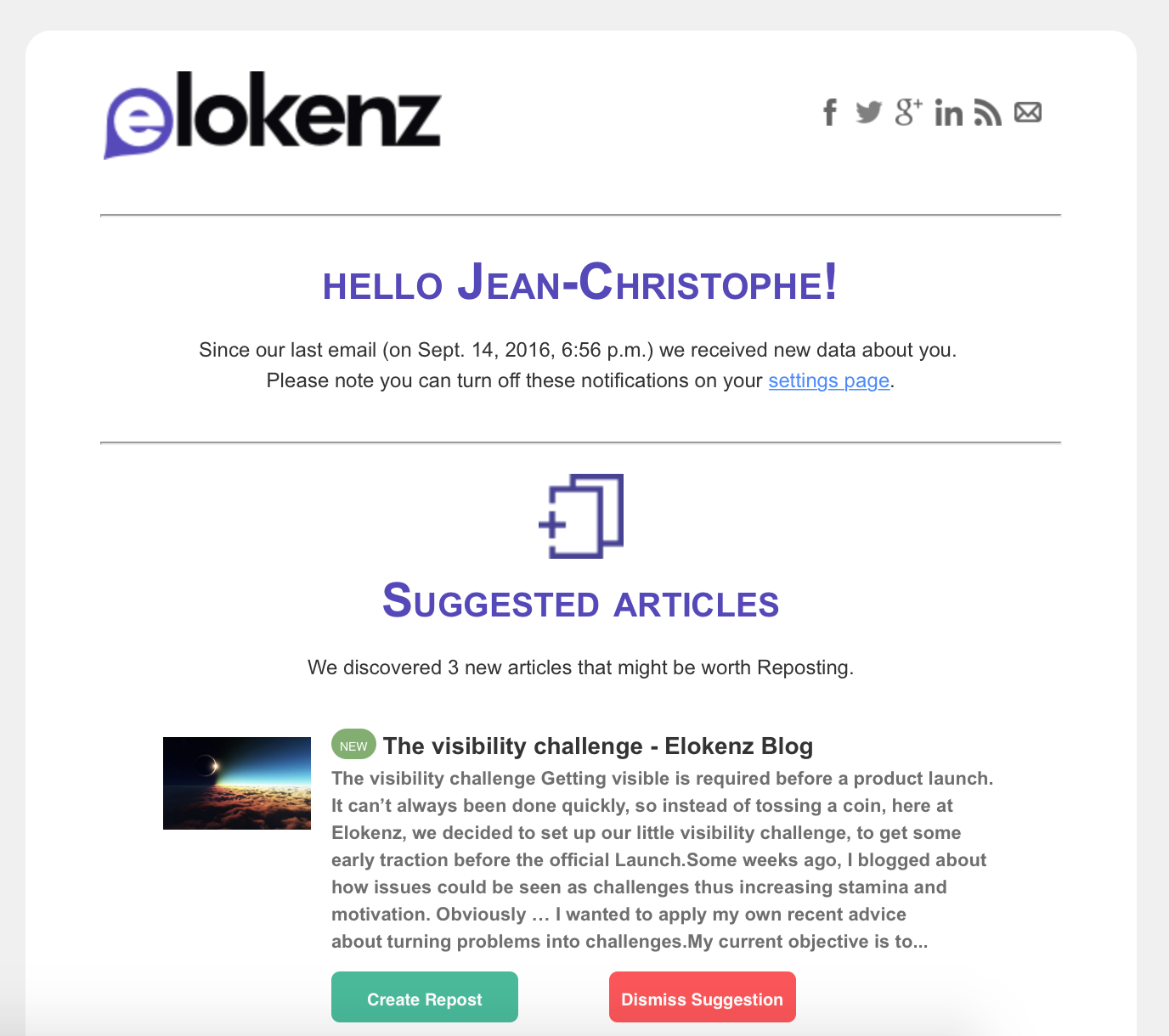 Elokenz - Suggested Email Notification