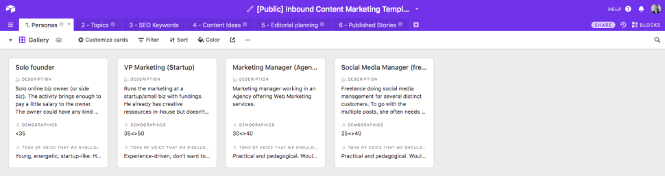 Airtable Inbound Content Mapping - Personas