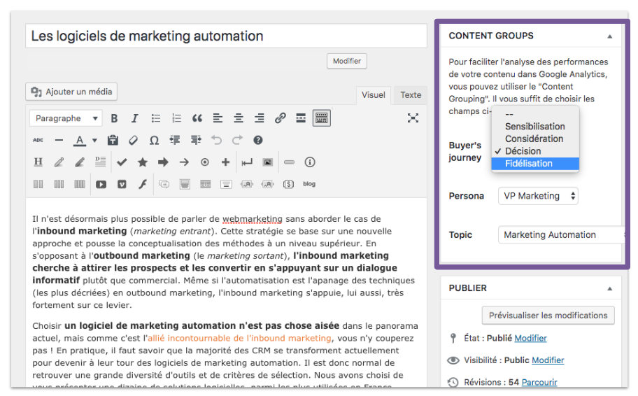 Wordpress plugin for content grouping